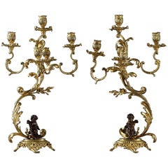 Pair of 19th Century Figural Bronze Candelabra Lamps
