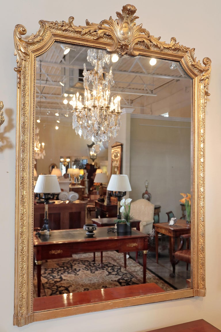 French Pair of 19th Century Fine Louis XVI Gilt Carved Large Mirrors For Sale