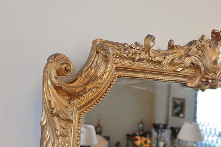Pair of 19th Century Fine Louis XVI Gilt Carved Large Mirrors For Sale 2