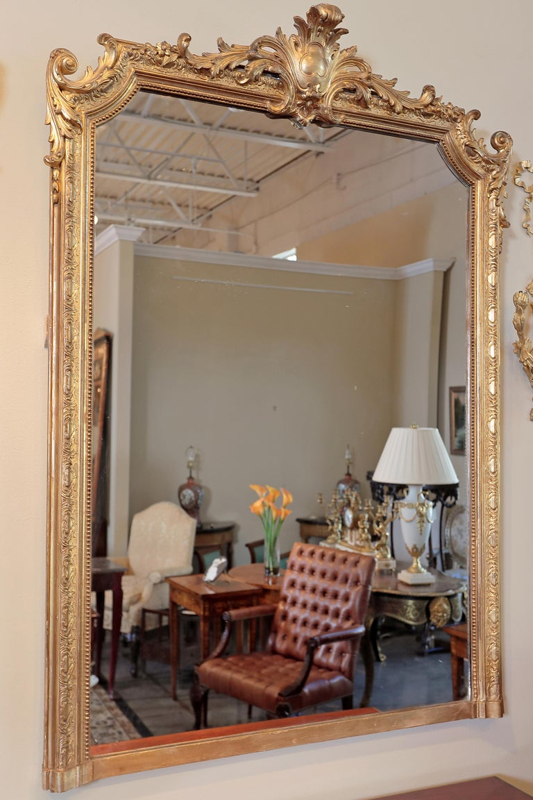 Pair of 19th Century Fine Louis XVI Gilt Carved Large Mirrors For Sale 4