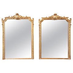 Pair of 19th Century Fine Louis XVI Gilt Carved Large Mirrors