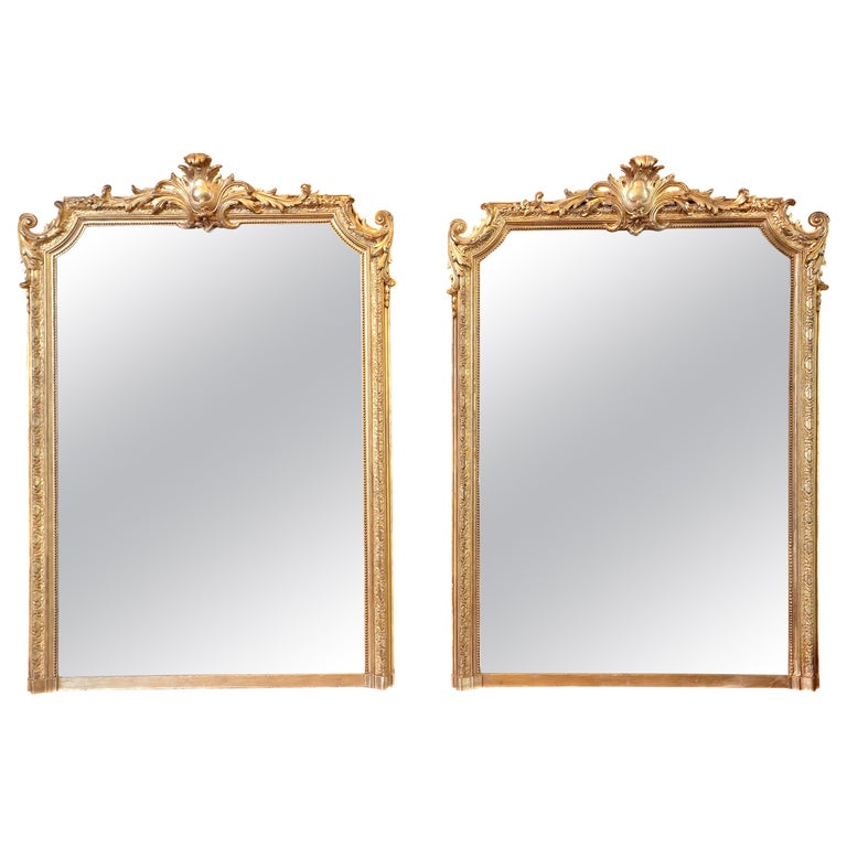 Pair of 19th Century Fine Louis XVI Gilt Carved Large Mirrors For Sale