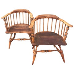 Pair of 19th Century Firehouse Windsor Armchairs
