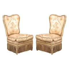 Pair of 19th Century Fireside Slipper Chairs