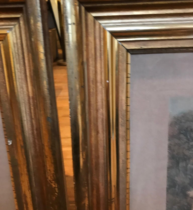Pair of 19th Century Fishing Prints in Original Classic American Giltwood Frames For Sale 7