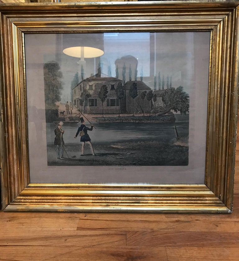 Pair of 19th century fishing themed prints. The prints are entitled Fly Fishing and Bottom Fishing.