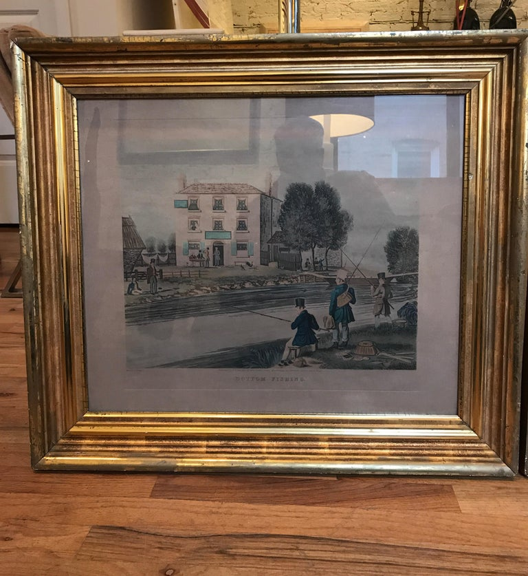 American Classical Pair of 19th Century Fishing Prints in Original Classic American Giltwood Frames For Sale