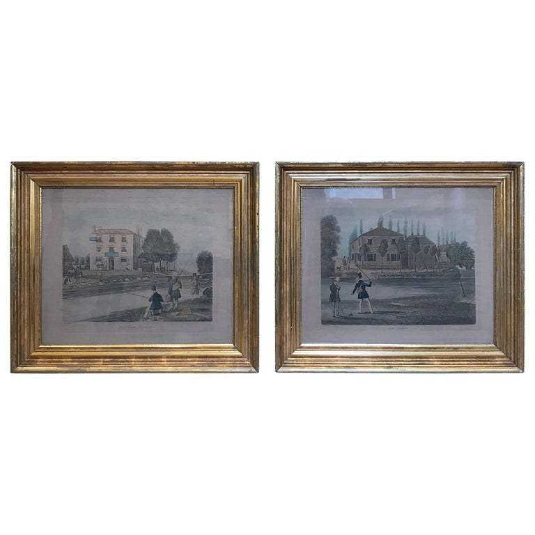Pair of 19th Century Fishing Prints in Original Classic American Giltwood Frames For Sale