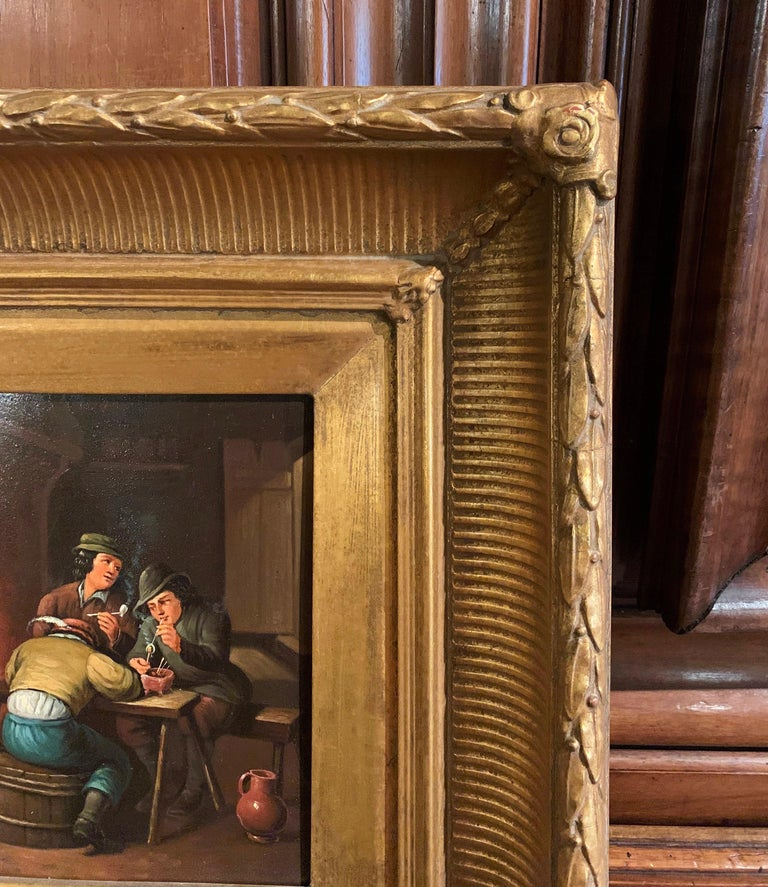 Pair of 19th Century Flemish Oil on Copper Paintings in Gilt Frame after Teniers For Sale 6