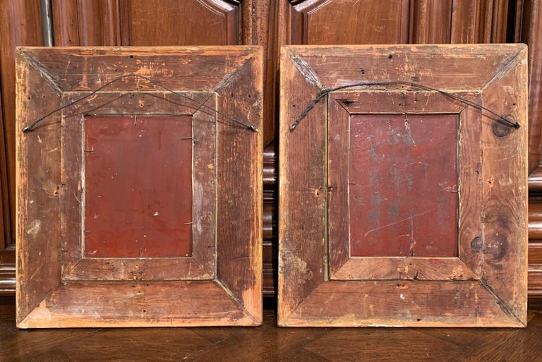 Pair of 19th Century Flemish Oil on Copper Paintings in Gilt Frame after Teniers For Sale 7