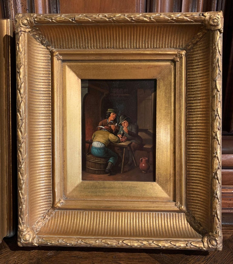 Belgian Pair of 19th Century Flemish Oil on Copper Paintings in Gilt Frame after Teniers For Sale