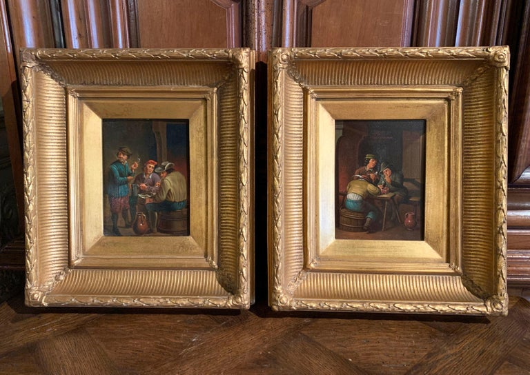 Pair of 19th Century Flemish Oil on Copper Paintings in Gilt Frame after Teniers In Excellent Condition For Sale In Dallas, TX