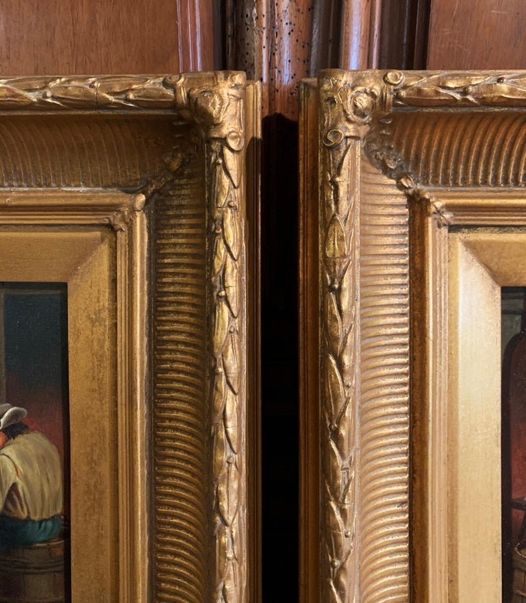 Pair of 19th Century Flemish Oil on Copper Paintings in Gilt Frame after Teniers For Sale 1