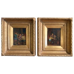 Pair of 19th Century Flemish Oil on Copper Paintings in Gilt Frame after Teniers