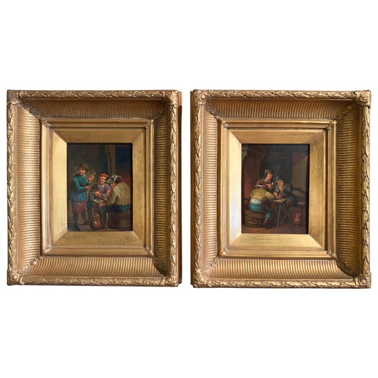 Pair of 19th Century Flemish Oil on Copper Paintings in Gilt Frame after Teniers For Sale