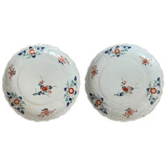 Pair of 19th Century Floral Round Porcelain Plates with Scalloped Edge, Unmarked