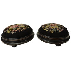 Pair of 19th Century Floral Tapestry English Round Foot Stools