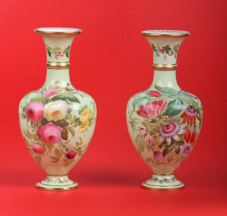 Early Victorian Pair of 19th Century Flower Vases Made by Copeland For Sale