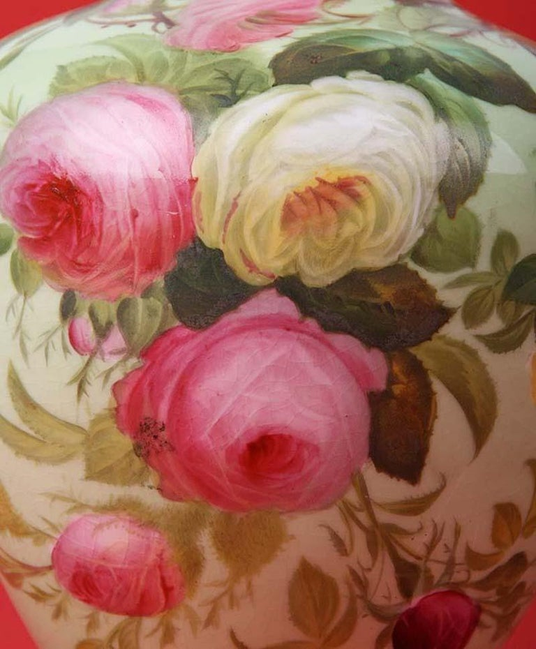 Hand-Painted Pair of 19th Century Flower Vases Made by Copeland For Sale