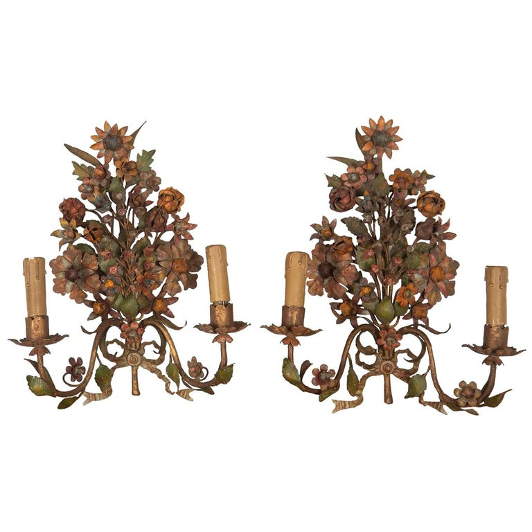 Pair of 19th Century Flower Wall Lights For Sale