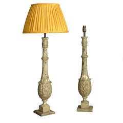 Pair of 19th Century Foliate Carved Balustrade Lamps