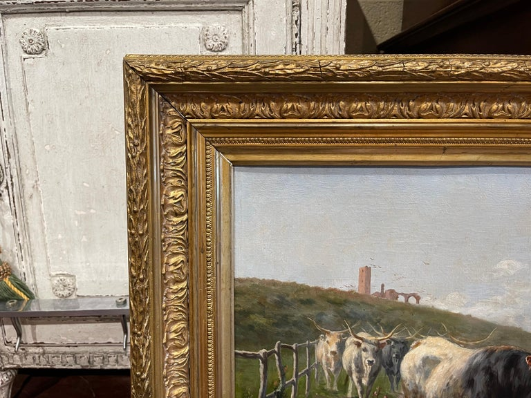Pair of 19th Century Framed Oil on Canvas Cow Paintings Signed A. de Simoni For Sale 5