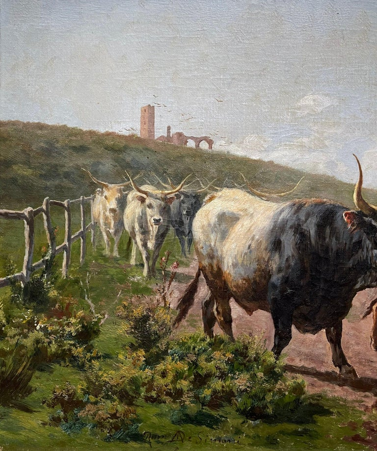 Pair of 19th Century Framed Oil on Canvas Cow Paintings Signed A. de Simoni For Sale 6