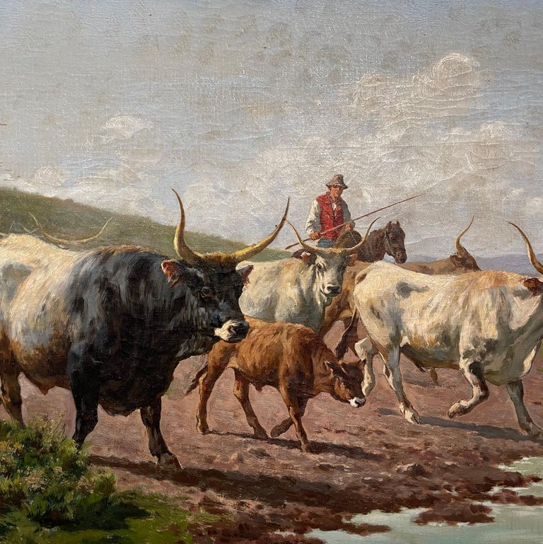 Pair of 19th Century Framed Oil on Canvas Cow Paintings Signed A. de Simoni For Sale 7