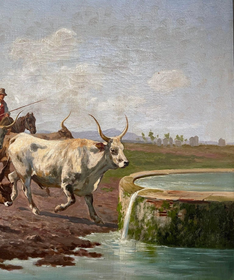 Pair of 19th Century Framed Oil on Canvas Cow Paintings Signed A. de Simoni For Sale 8