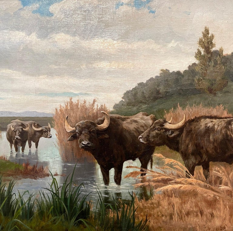 Pair of 19th Century Framed Oil on Canvas Cow Paintings Signed A. de Simoni For Sale 10