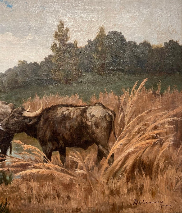 Pair of 19th Century Framed Oil on Canvas Cow Paintings Signed A. de Simoni For Sale 11