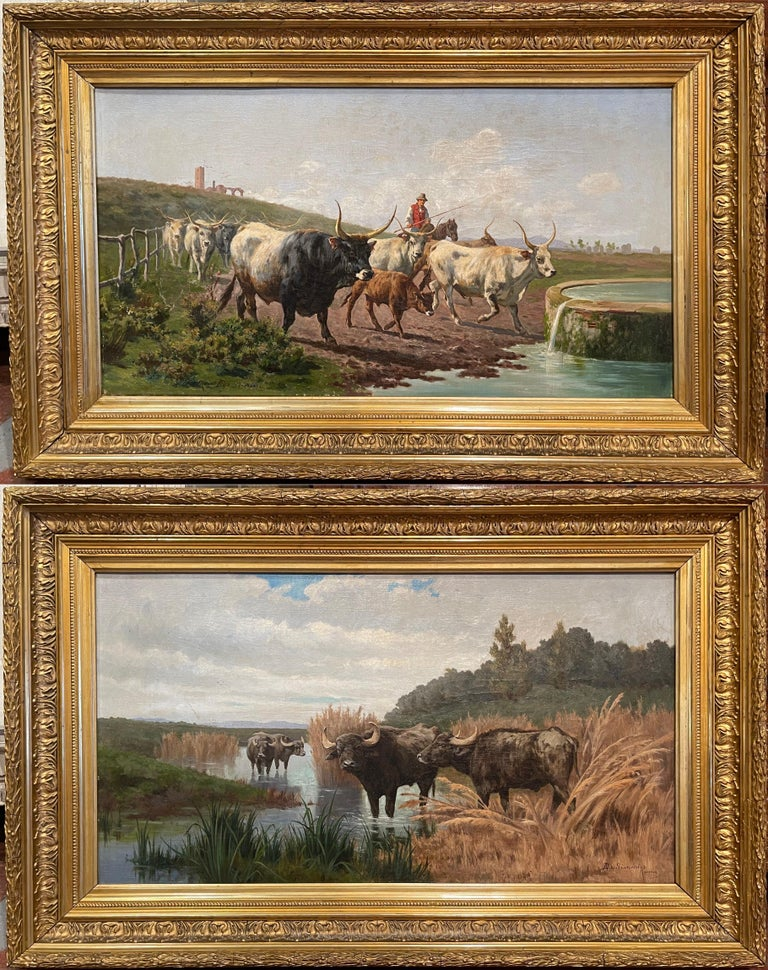 Pair of 19th Century Framed Oil on Canvas Cow Paintings Signed A. de Simoni For Sale 14