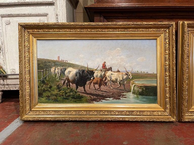 Italian Pair of 19th Century Framed Oil on Canvas Cow Paintings Signed A. de Simoni For Sale