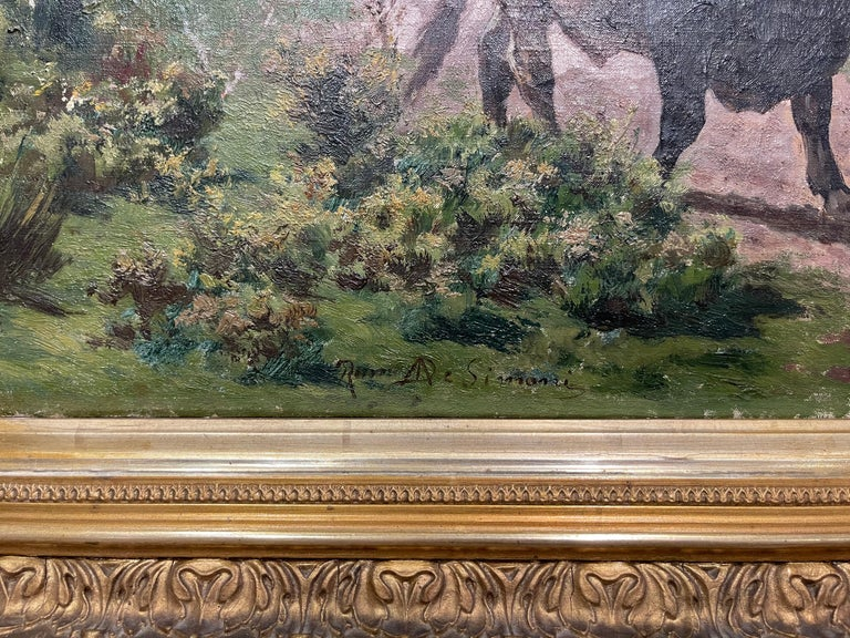 Pair of 19th Century Framed Oil on Canvas Cow Paintings Signed A. de Simoni In Excellent Condition For Sale In Dallas, TX