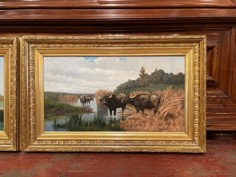 Pair of 19th Century Framed Oil on Canvas Cow Paintings Signed A. de Simoni For Sale 1