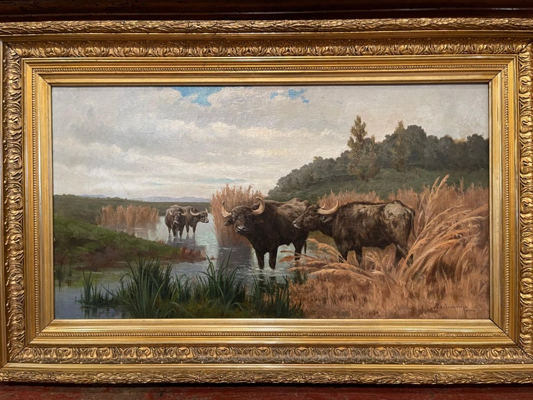 Pair of 19th Century Framed Oil on Canvas Cow Paintings Signed A. de Simoni For Sale 2