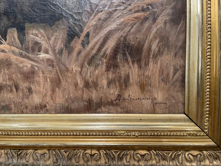Pair of 19th Century Framed Oil on Canvas Cow Paintings Signed A. de Simoni For Sale 3