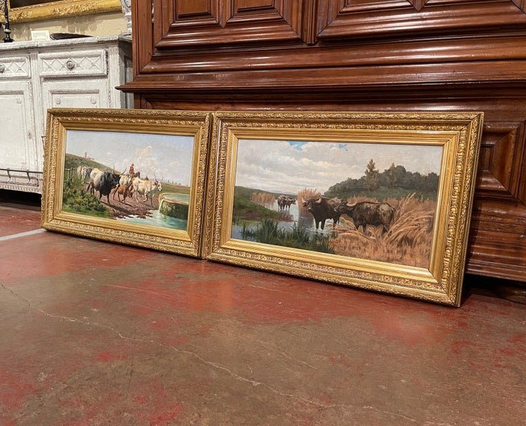Pair of 19th Century Framed Oil on Canvas Cow Paintings Signed A. de Simoni For Sale 4