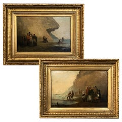 Pair of 19th Century Framed Oil Paintings on Board, French School