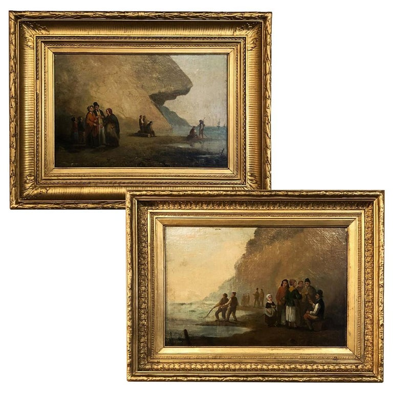 Pair of 19th Century Framed Oil Paintings on Board, French School For Sale