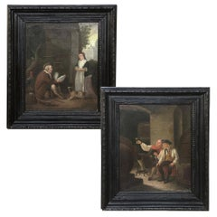 Pair of 19th Century Framed Oil Paintings on Canvas by I. Gorius