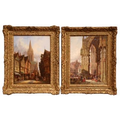 Pair of 19th Century Framed Street Scenes Oil Paintings Signed Henry T. Schafer