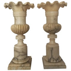 Pair of 19th Century French Alabaster Vases