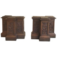 Pair of 19th Century French Architectural Hand Carved Column Pediments