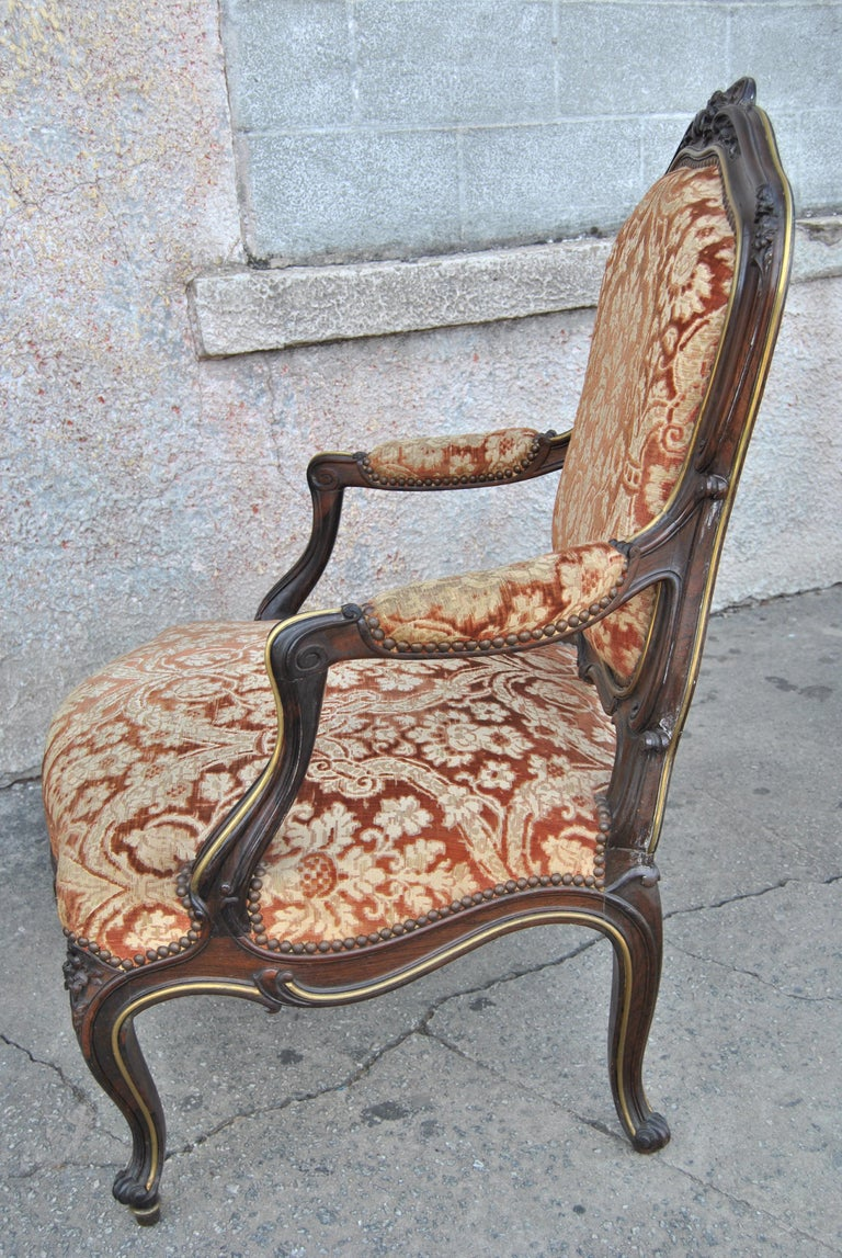 Rosewood Pair of 19th Century French Armchairs For Sale