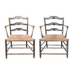 Pair of 19th Century French Armchairs with Rush Seats