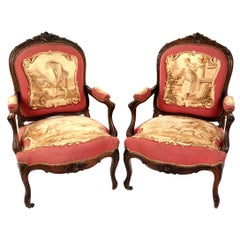 Pair of 19th Century French Aubusson Rosewood Bergères
