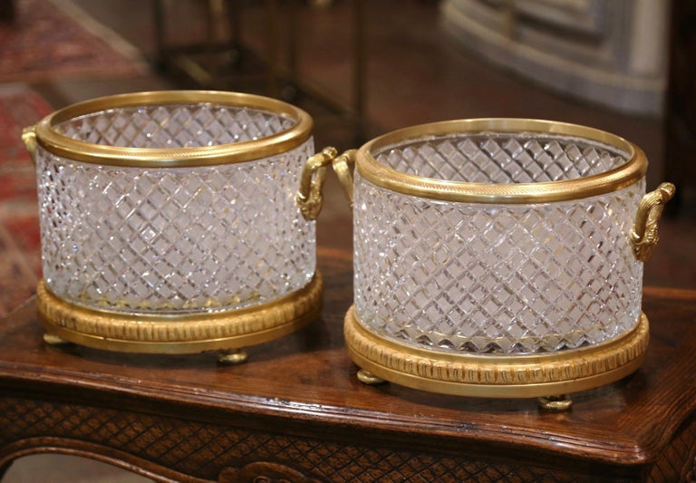 Louis XVI Pair of 19th Century French Baccarat Style Bronze Dore and Cut Glass Planters For Sale