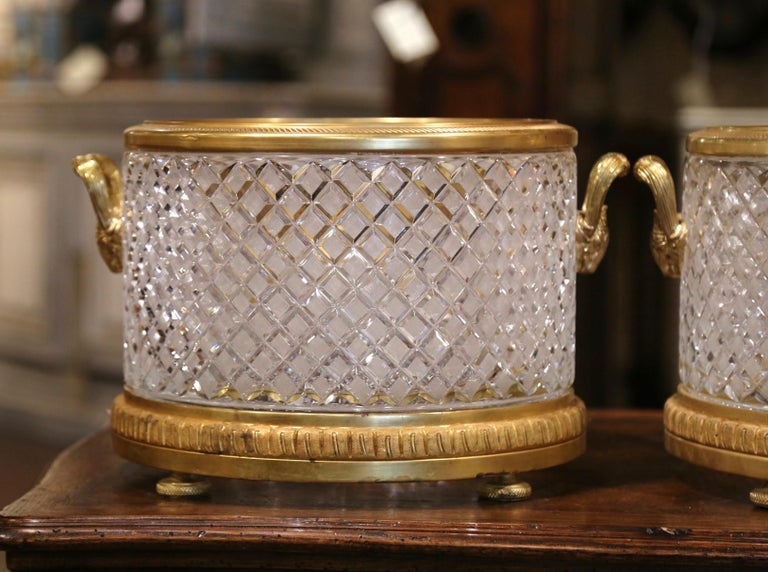 Gilt Pair of 19th Century French Baccarat Style Bronze Dore and Cut Glass Planters For Sale