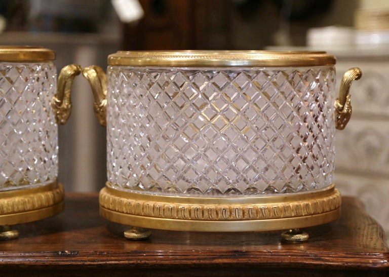 Pair of 19th Century French Baccarat Style Bronze Dore and Cut Glass Planters In Excellent Condition For Sale In Dallas, TX